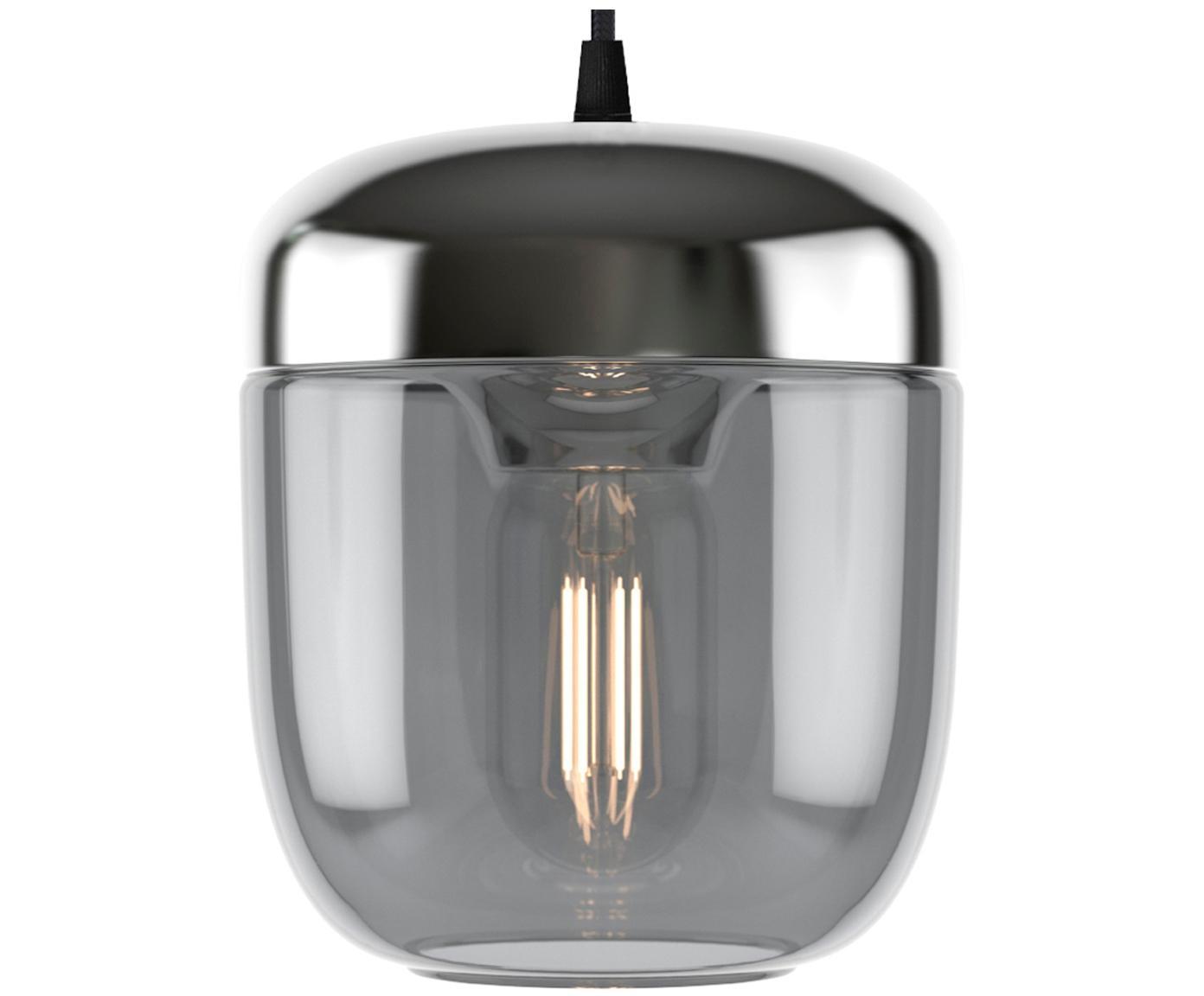 Lámpara de techo pequeña Acorn, Anclaje: silicona, Cable: cubierto en tela, Gris, aluminio, Ø 14 x Al 16 cm