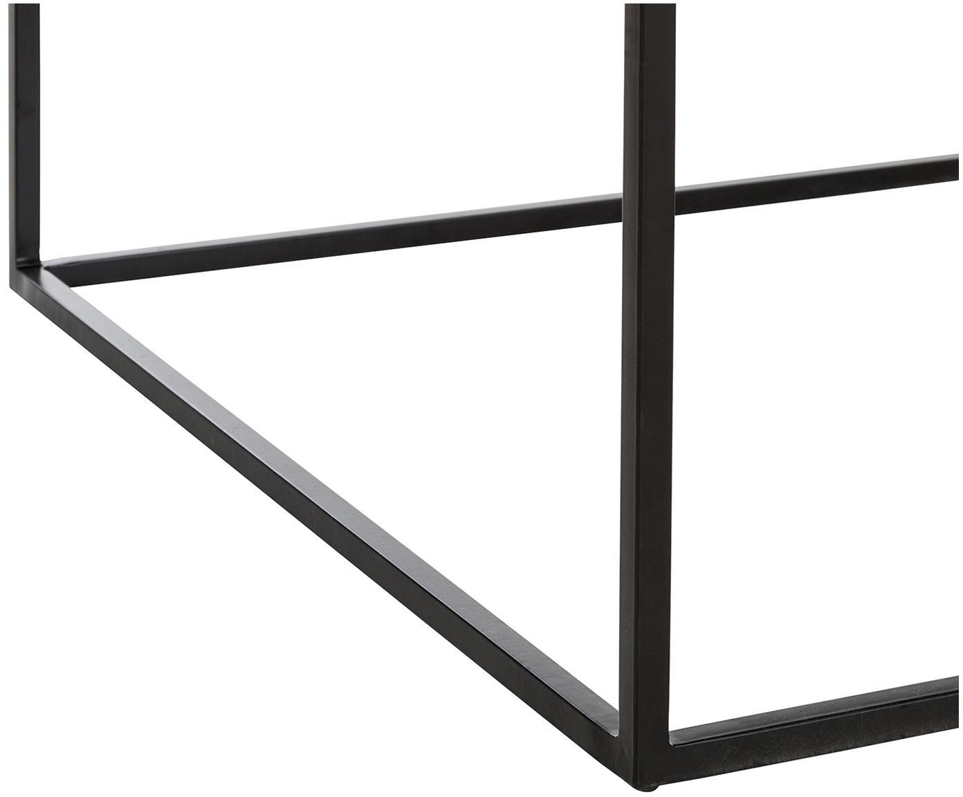 Stolik kawowy Amalia, Blat: metal emaliowany, Stelaż: metal malowany proszkowo, Szary, czarny, S 60 x G 60 cm