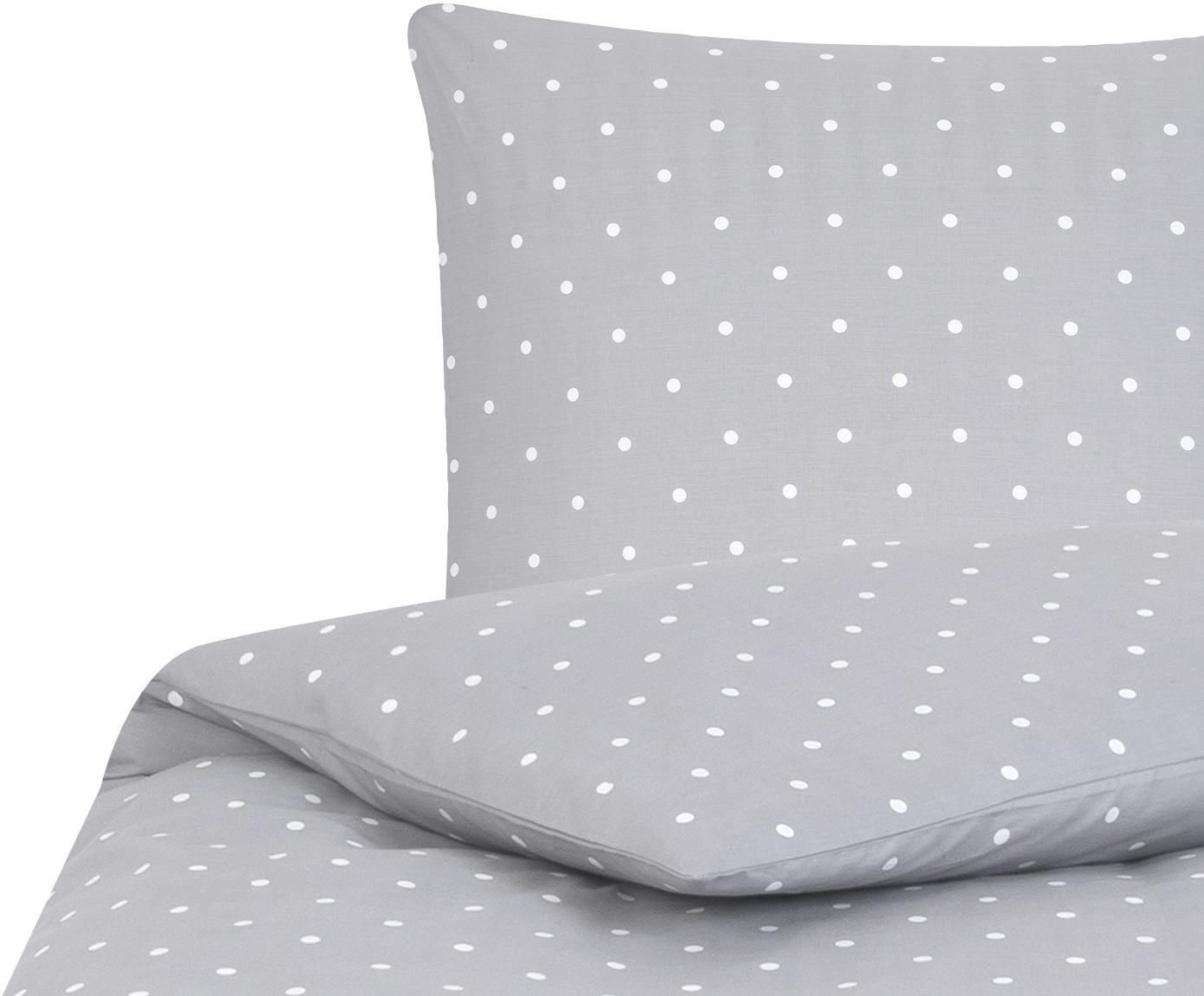 Gepunktete Baumwoll-Bettwäsche Dotty in Grau/Weiß, Webart: Renforcé Fadendichte 144 , Grau, Weiß, 135 x 200 cm + 1 Kissen 80 x 80 cm