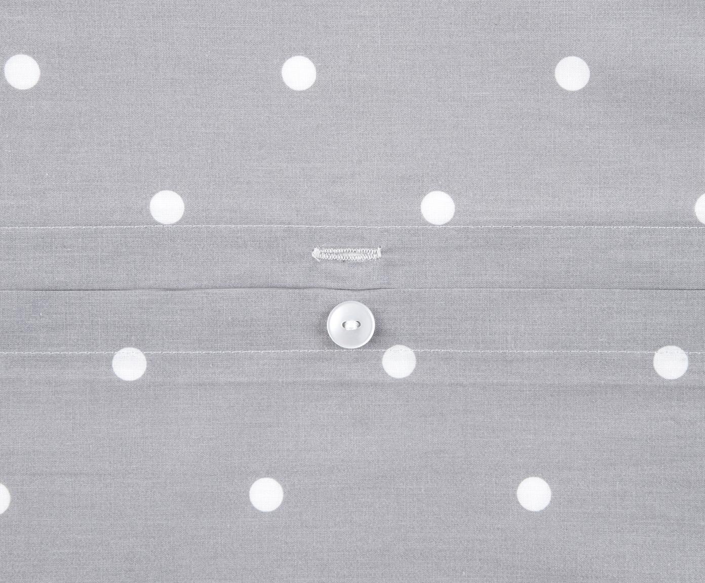 Pościel z bawełny renforcé Dotty, Szary, biały, 240 x 220 cm