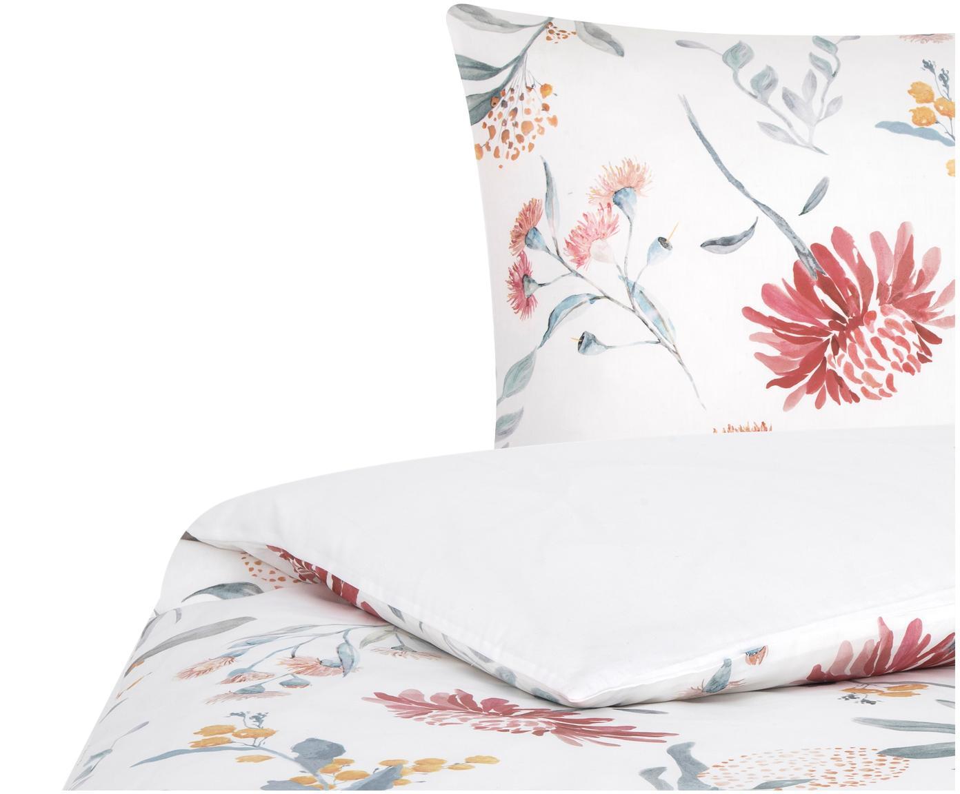 Pościel z satyny bawełnianej Evie, Przód: kwiatowy nadruk Tył: biały, 135 x 200 cm