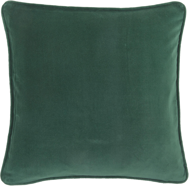 Funda de cojín de terciopelo Dana, Terciopelo de algodón, Verde esmeralda, An 40 x L 40 cm