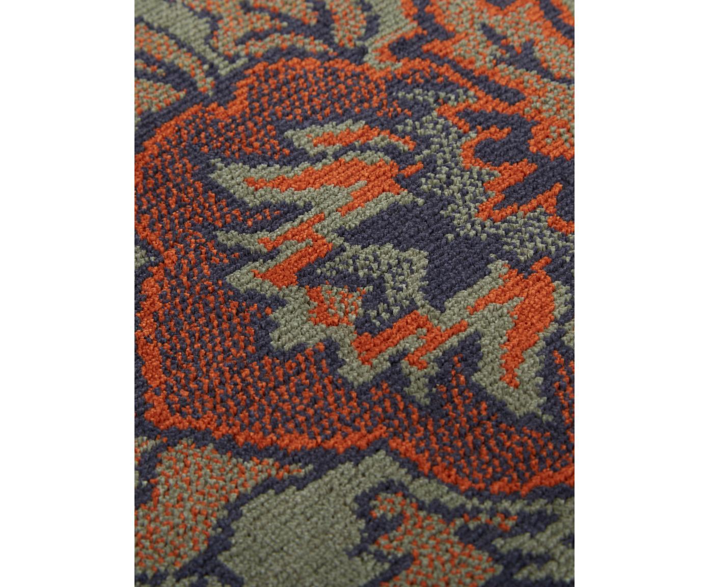 Tappeto a pelo corto con frange Bid, Retro: gomma sintetica, Verde, tonalità rosse, blu, beige, Larg. 170 x Lung. 240 cm (taglia M)