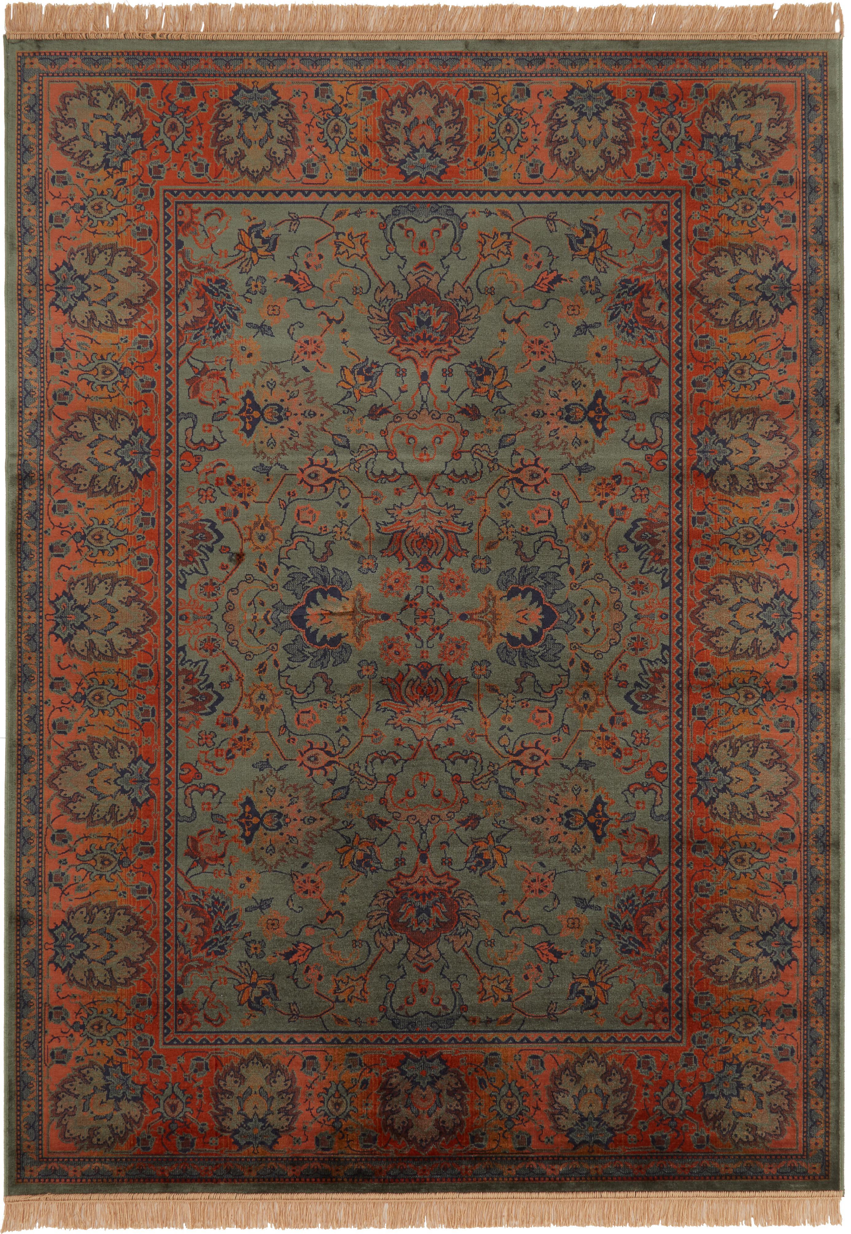 Alfombra Bid, estilo oriental, Parte superior: 38%rayón, 26%algodón, 2, Reverso: caucho sintético, Tonos verdes, tonos rojos, azul, beige, An 170 x L 240 cm (Tamaño M)