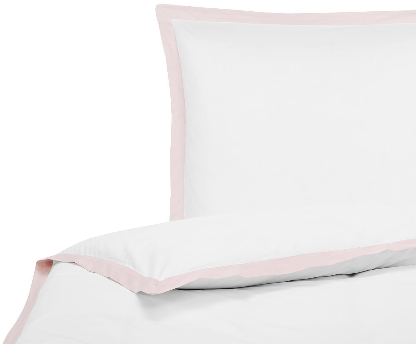 Perkal-Bettwäsche Joanna mit farblich abgesetztem Stehsaum, Webart: Perkal Fadendichte 200 TC, Weiß, Rosa, 135 x 200 cm