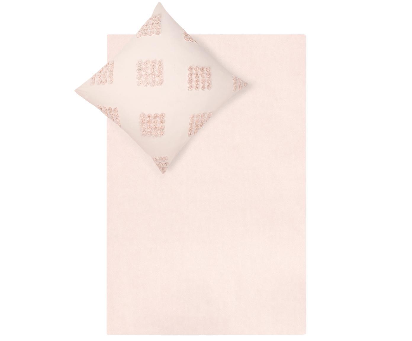 Pościel z perkalu  z tuftowaną dekoracją Fia, Morelowy, 240 x 220 cm