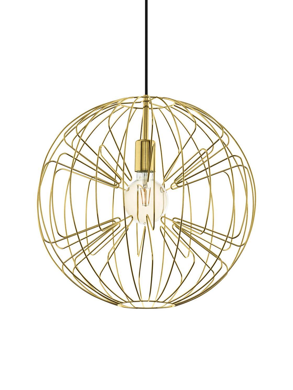Pendelleuchte Okinzuri, Lampenschirm: Metall, lackiert, Baldachin: Metall, lackiert, Gold, Ø 45 x H 110 cm