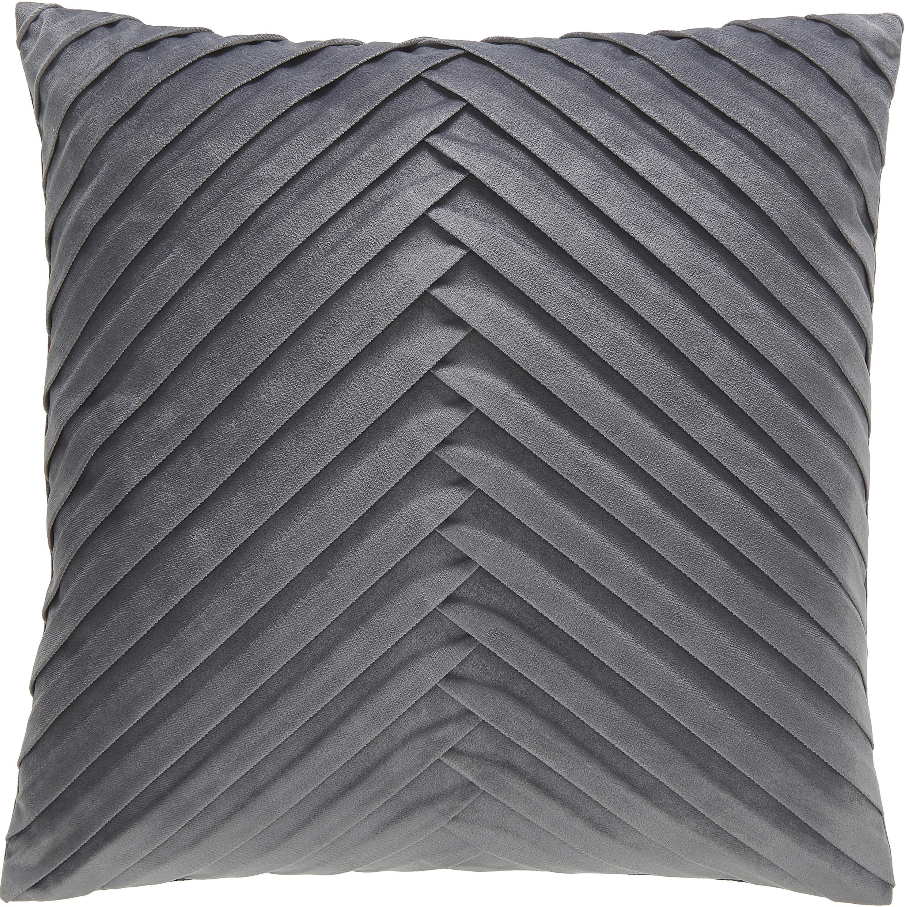 Fluwelen kussenhoes Lucie met gestructureerde oppervlak, 100% fluweel (polyester), Donkergrijs, 45 x 45 cm