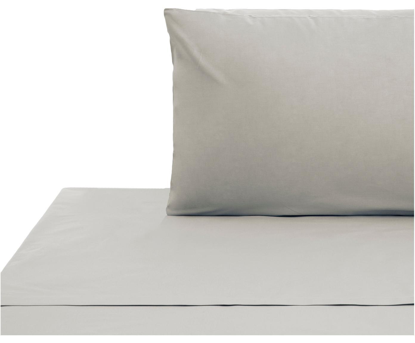 Set lenzuola in cotone ranforce Lenare 2 pz, Tessuto: Renforcé, Fronte e retro: grigio chiaro, 150 x 290 cm