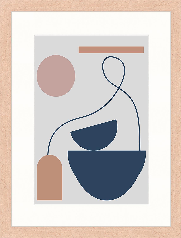 Oprawiony druk cyfrowy Abstract Composition, Wielobarwny, S 33 x W 43 cm