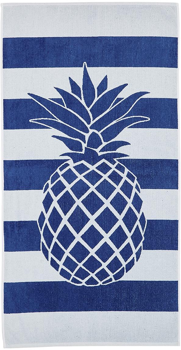 Gestreiftes Strandtuch Asan mit Ananas-Motiv, 100% Baumwolle leichte Qualität 380 g/m², Blau, Weiß, 80 x 160 cm