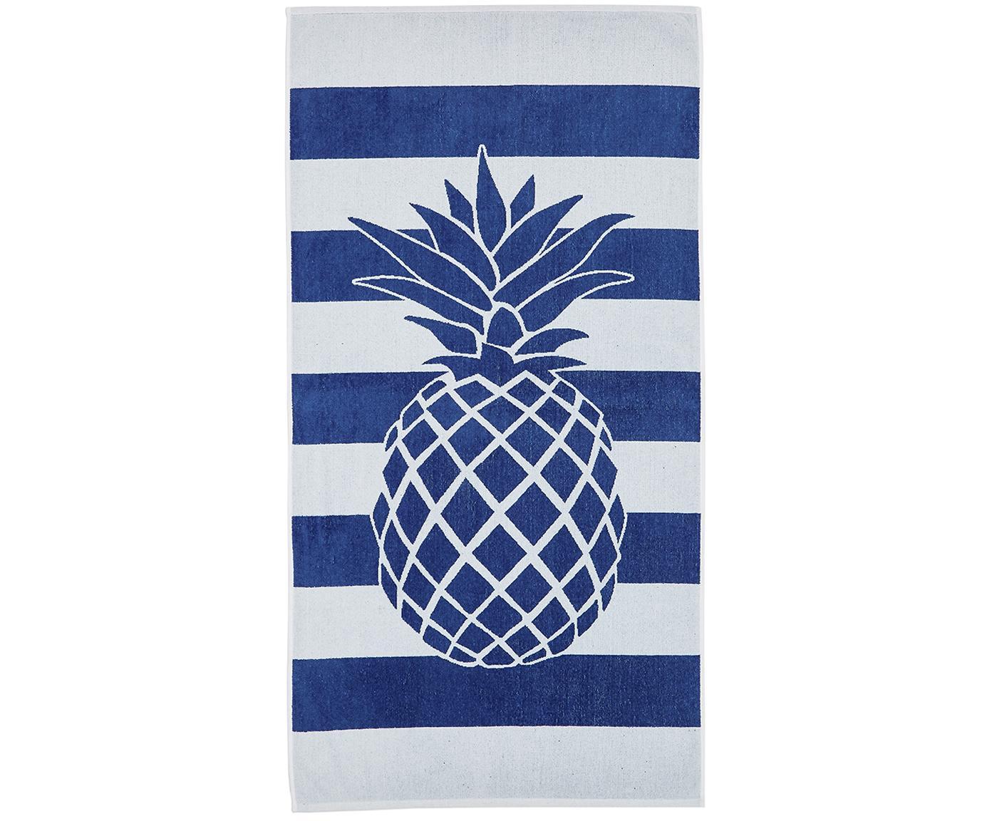 Telo mare a righe con motivo ananas Anas, Cotone Qualità leggera 380 g/m², Blu, bianco, Larg. 80 x Lung. 160 cm