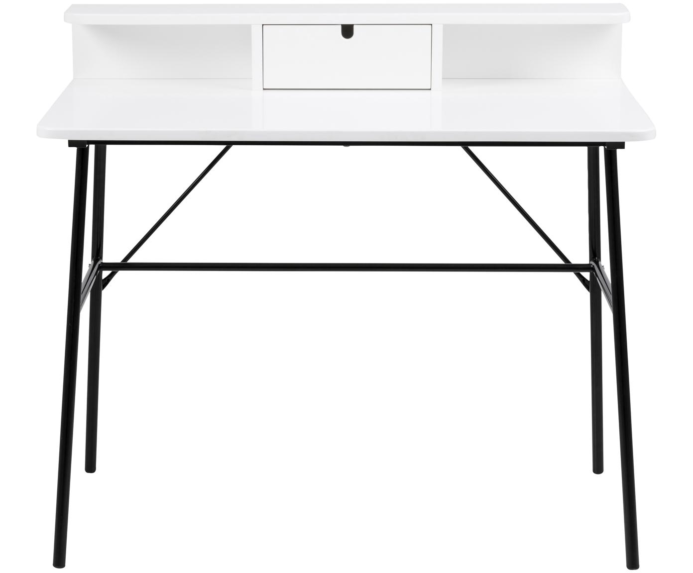 Biurko z szufladą Pascal, Nogi: metal lakierowany, Czarny, biały, S 100 x W 88 cm