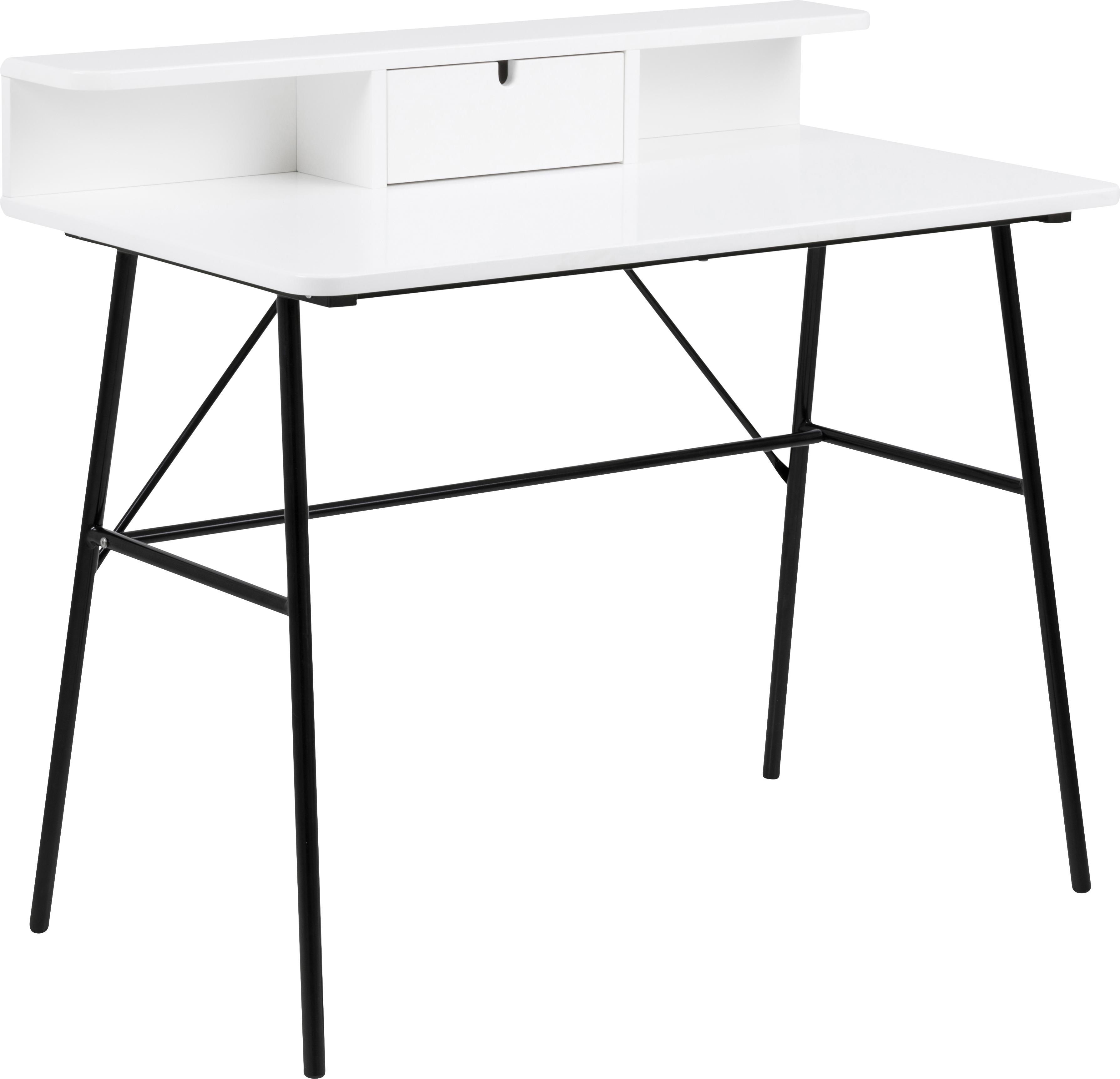 Bureau Pascal met lades, Poten: gelakt metaal, Zwart, wit, 100 x 88 cm