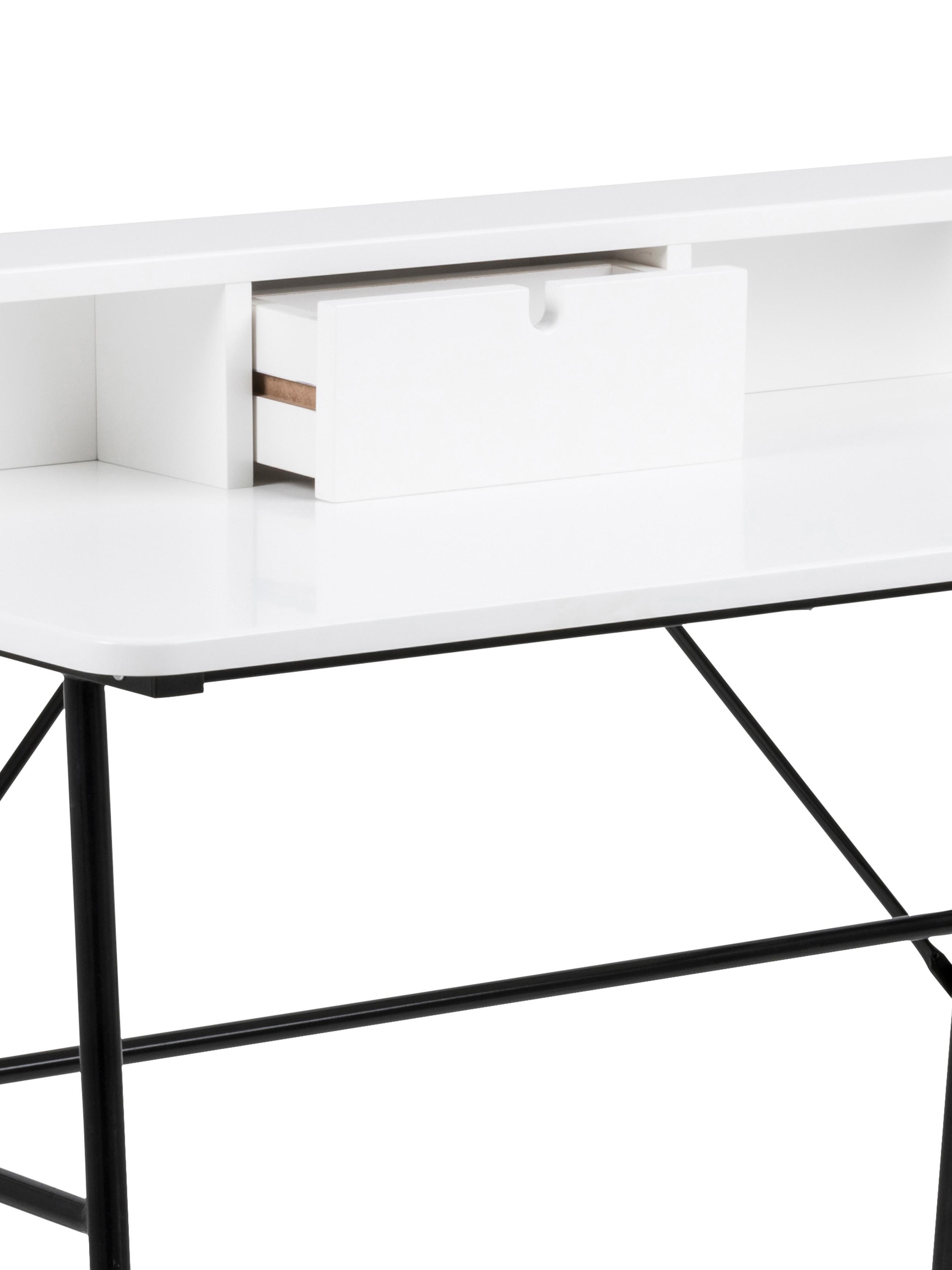 Bureau Pascal, Poten: gelakt metaal, Zwart, wit, 100 x 88 cm