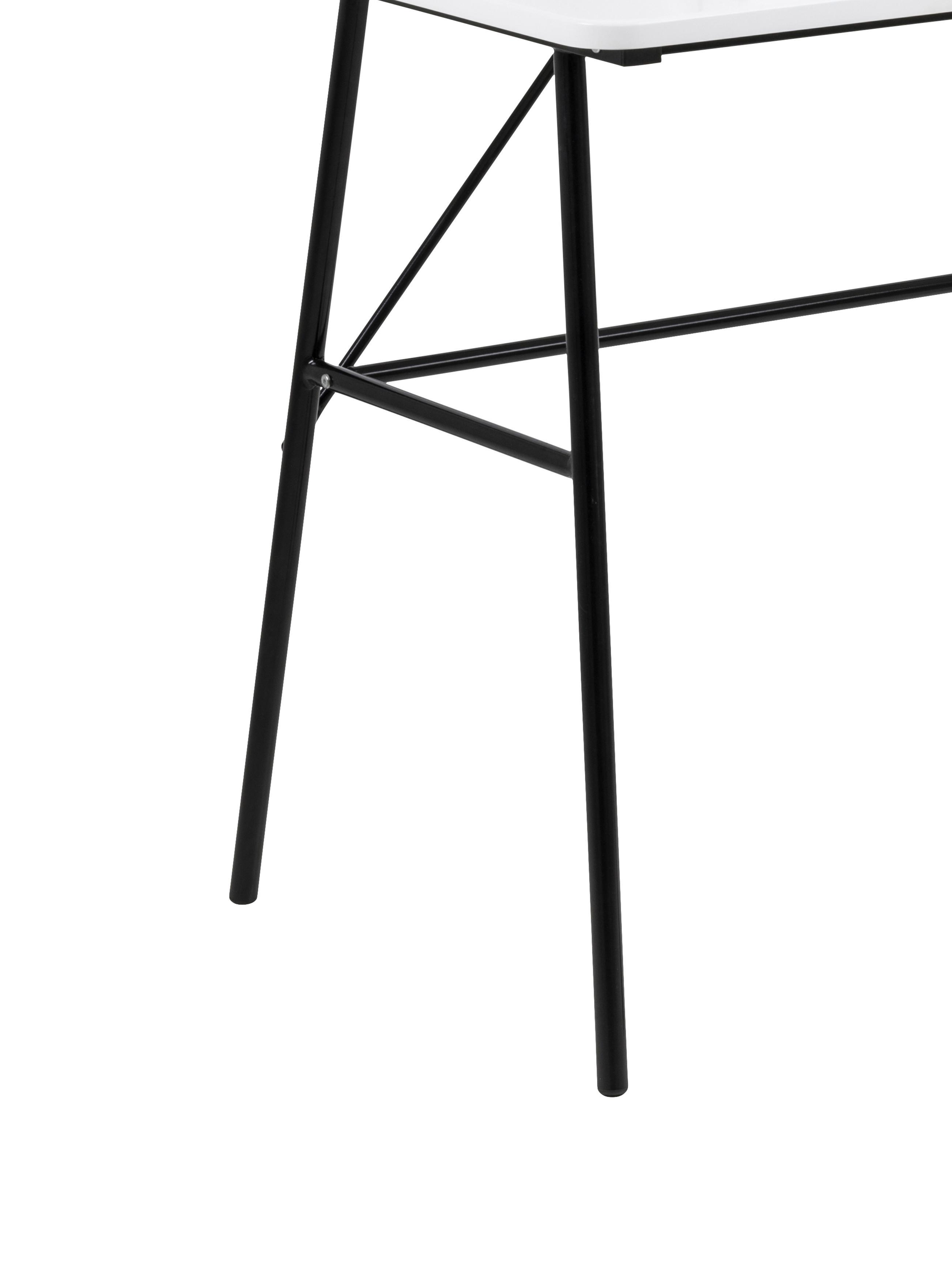 Scrivania con cassetto Pascal, Gambe: metallo verniciato, Nero, bianco, Larg. 100 x Alt. 55 cm