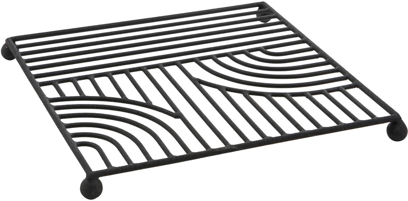 Panonderzetter Maze, Gelakt metaal, Zwart, 20 x 20 cm