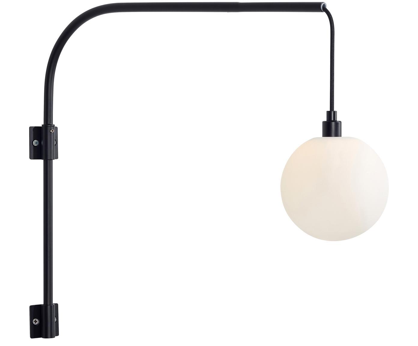 Wandleuchte Buddy, Lampenschirm: Opalglas, Schwarz, 12 x 41 cm