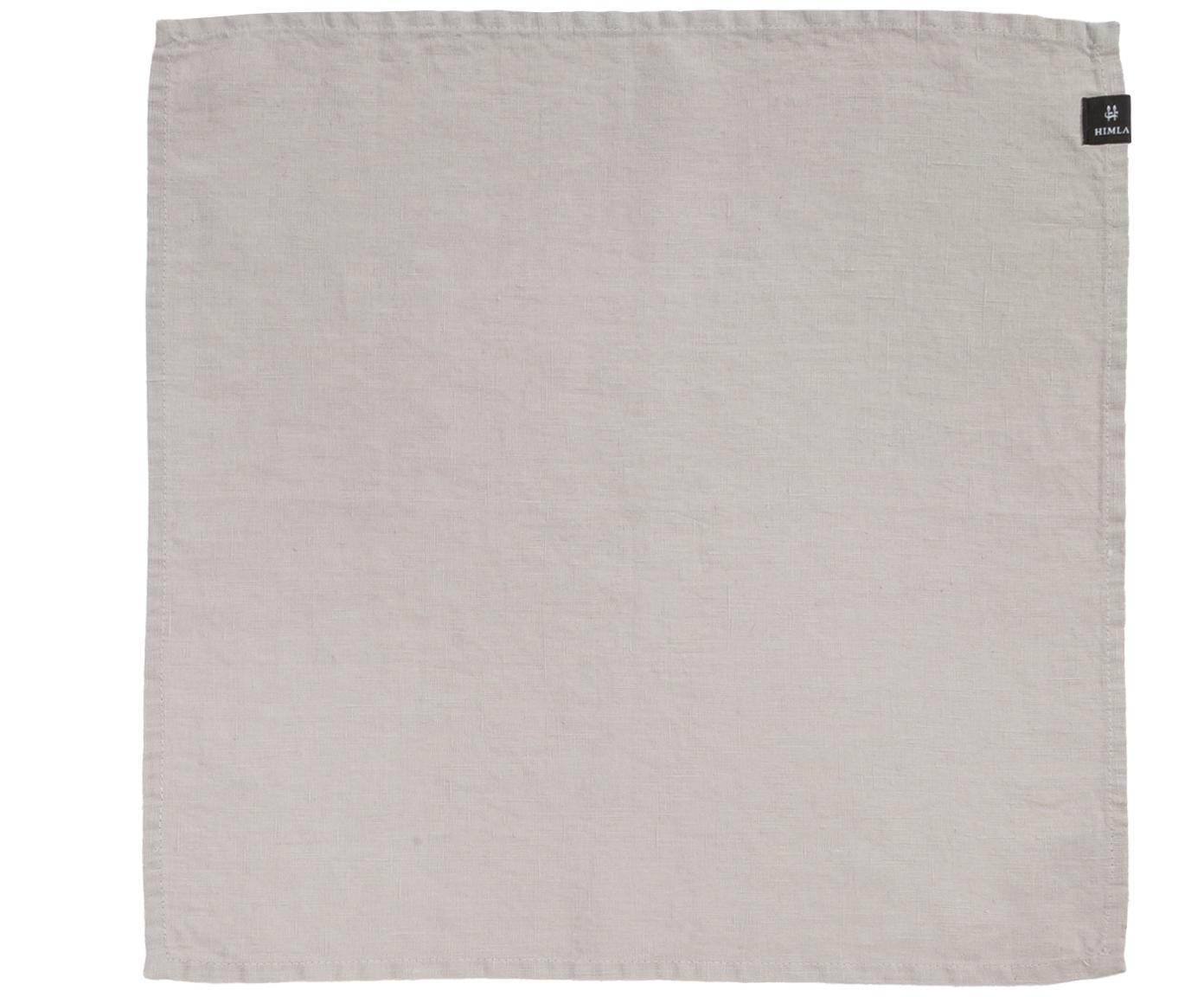 Leinen-Servietten Sunshine, 4 Stück, 50% Leinen, 50% Baumwolle, Aschweiss, 45 x 45 cm