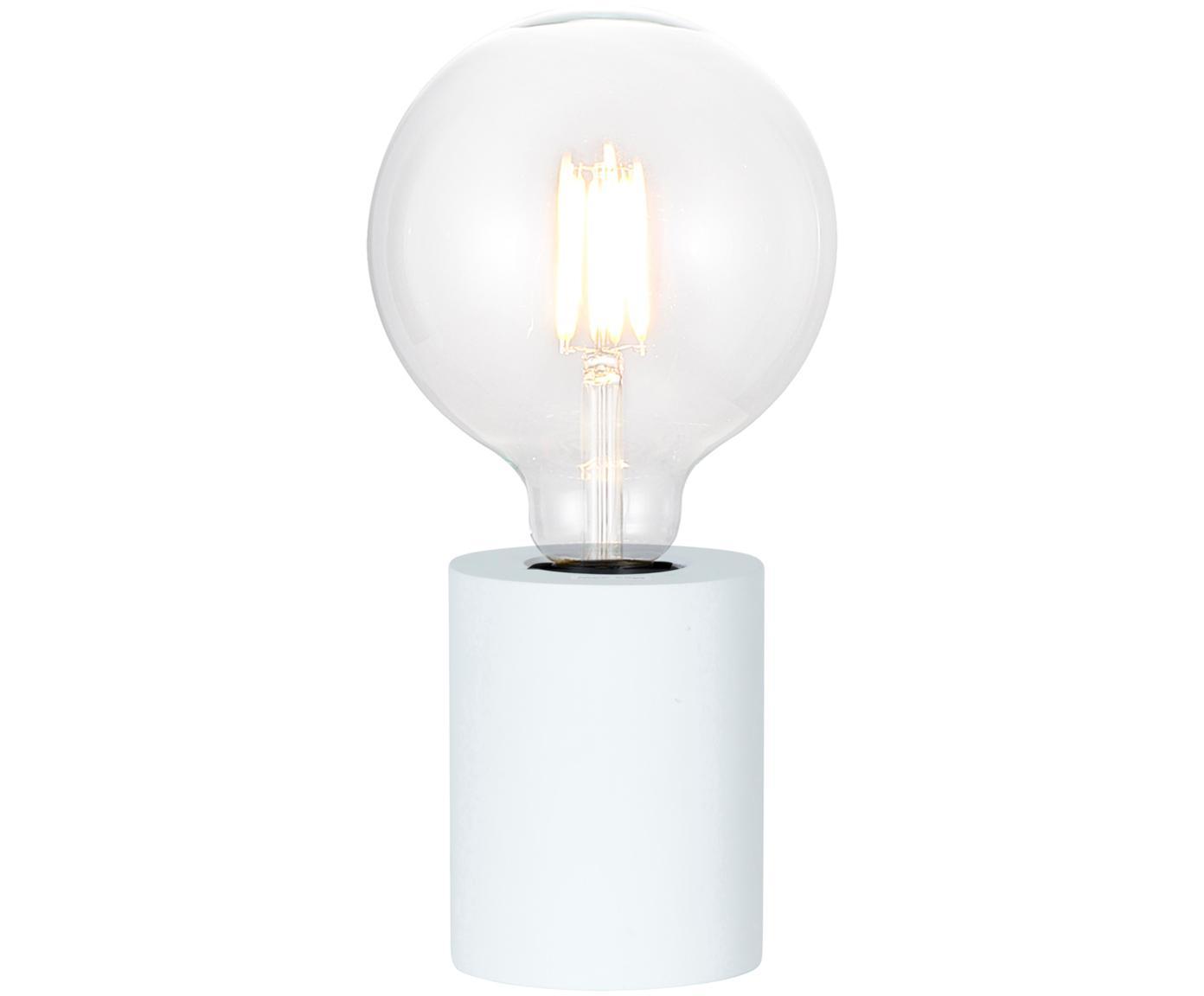 Kleine Tischlampe Tub aus Holz, Lampenfuß: Holz, beschichtet, Weiß, Ø 8 x H 10 cm