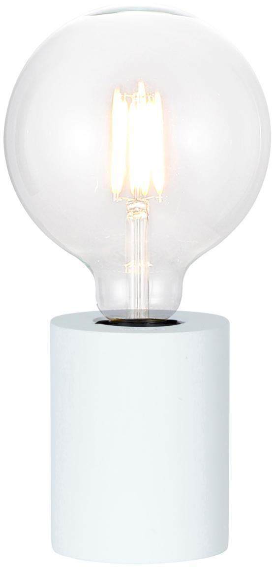 Kleine Tischlampe Tub aus Holz, Weiss, Ø 8 x H 10 cm