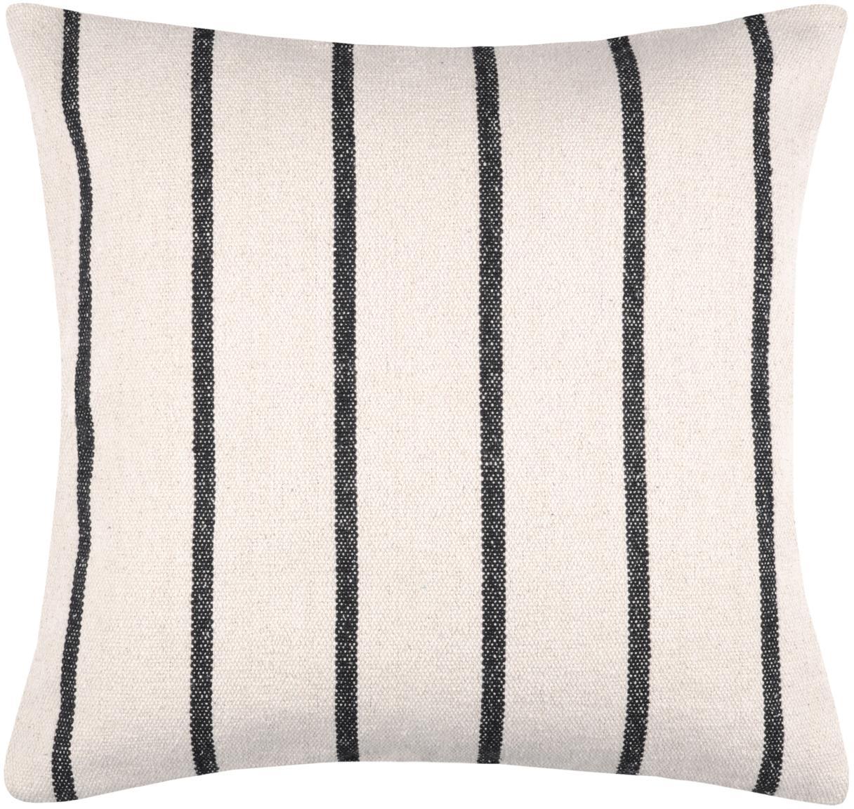 Gestreiftes Kissen St Trop, mit Inlett, Bezug: 100% Baumwolle, Schwarz, Weiß, 50 x 50 cm