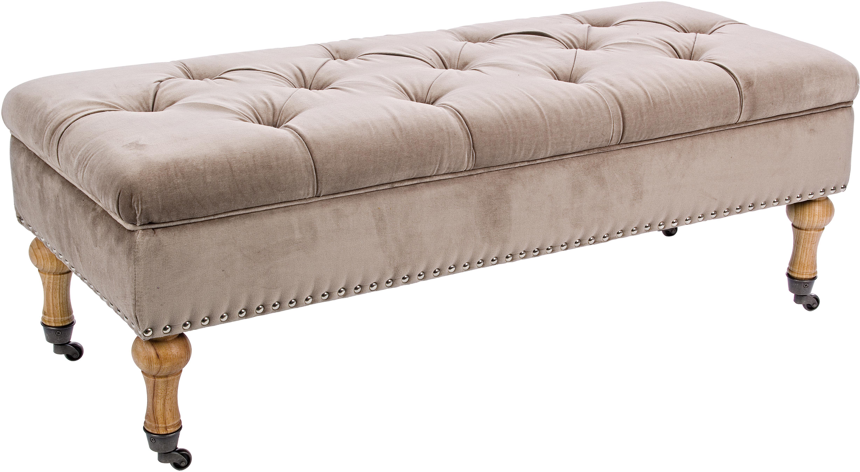 Fluwelen zitbank Arlette met opbergruimte, Bekleding: fluweel, Poten: dennenhout, Lichtbruin, dennenhout, zilverkleurig, 110 x 40 cm