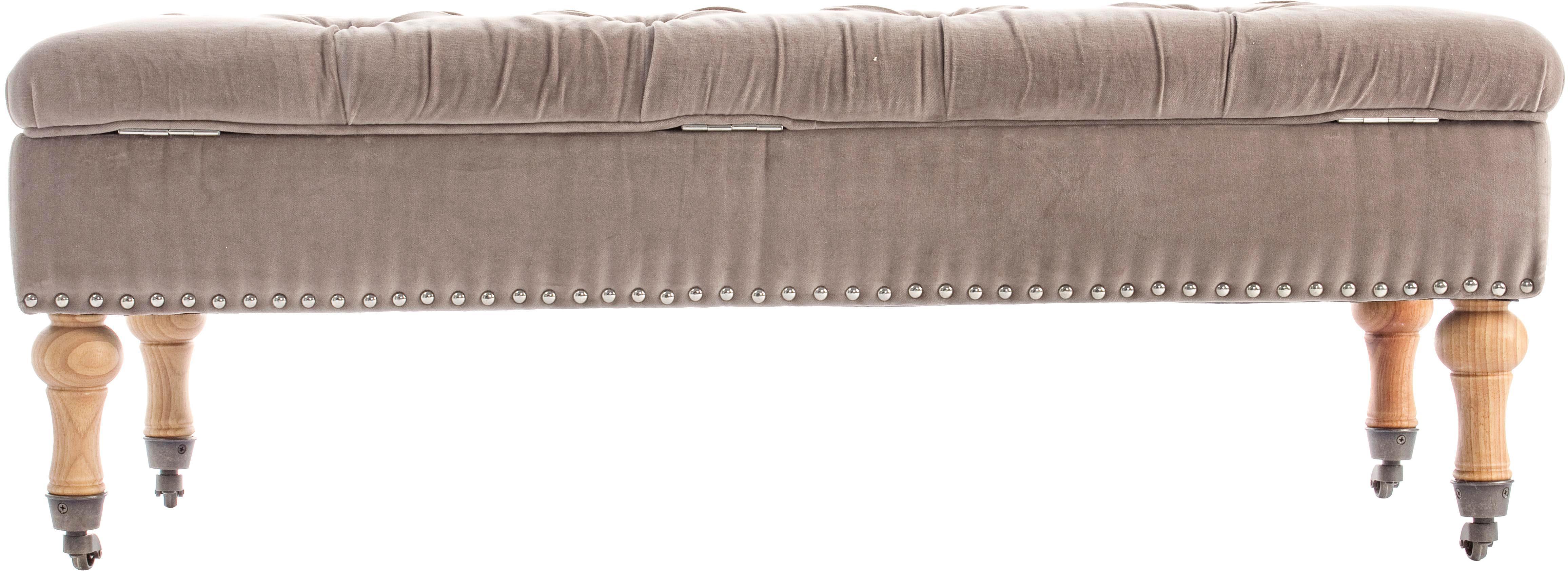 Samt-Sitzbank Arlette mit Stauraum, Bezug: Velours, Beine: Pinienholz Polsterung aus, Hellbraun, Pinienholz, Silberfarben, 110 x 40 cm