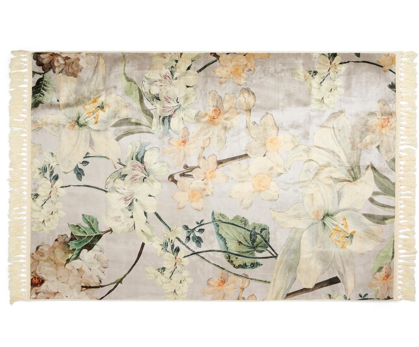 Teppich Rosalee mit Blumenmuster, 60% Polyester, 30% thermoplastisches Polyurethan, 10% Baumwolle, Hellgrau, Mehrfarbig, B 120 x L 180 cm (Größe S)