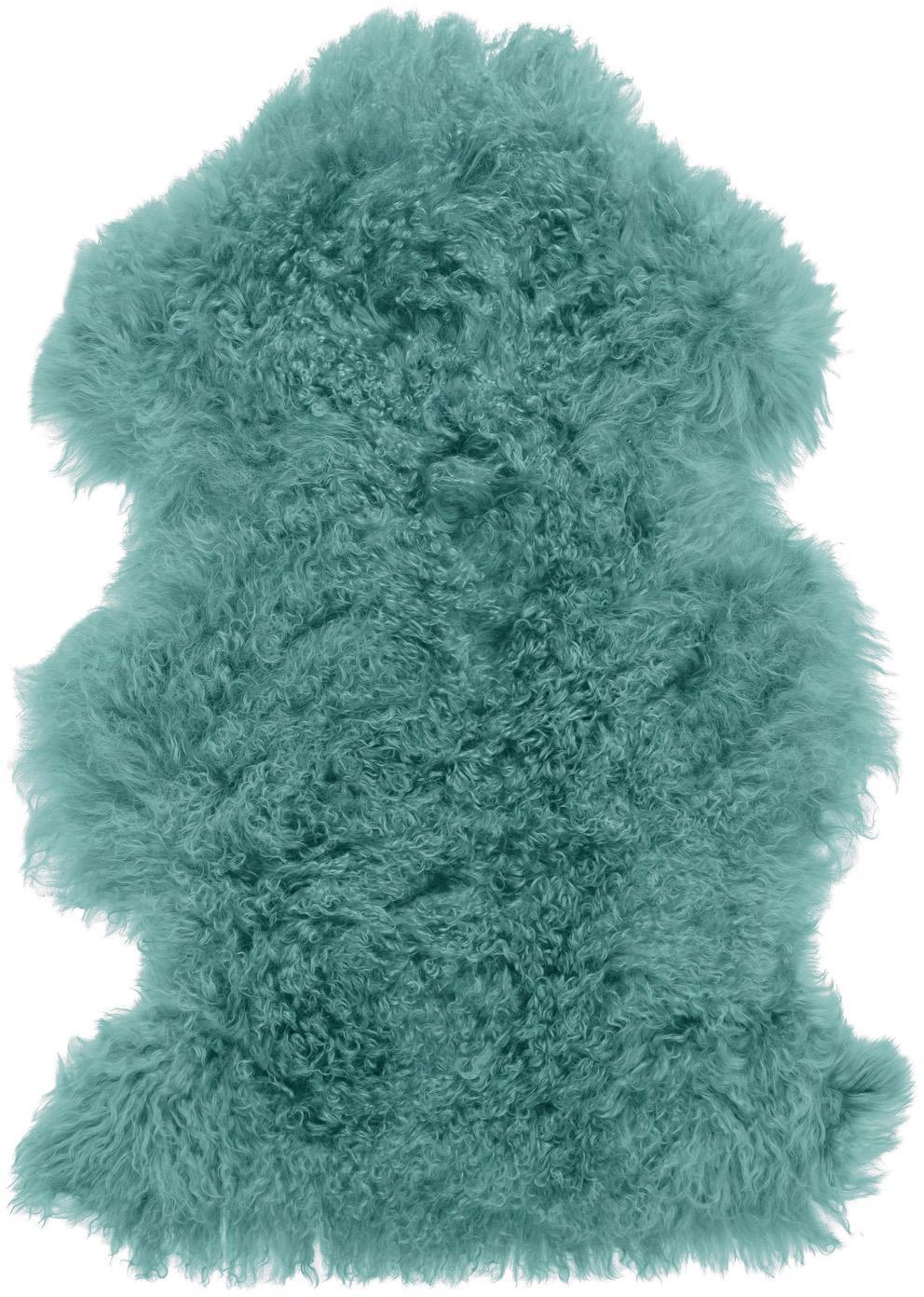 Langhaar-Lammfell Ella, gelockt, Vorderseite: Mongolisches Lammfell, Rückseite: Leder, Dunkles Türkis, 50 x 80 cm