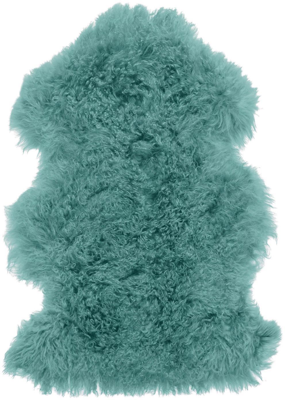 Pelliccia d'agnello a pelo lungo Ella, Retro: pelle, Turchese scuro, Larg. 50 x Lung. 80 cm
