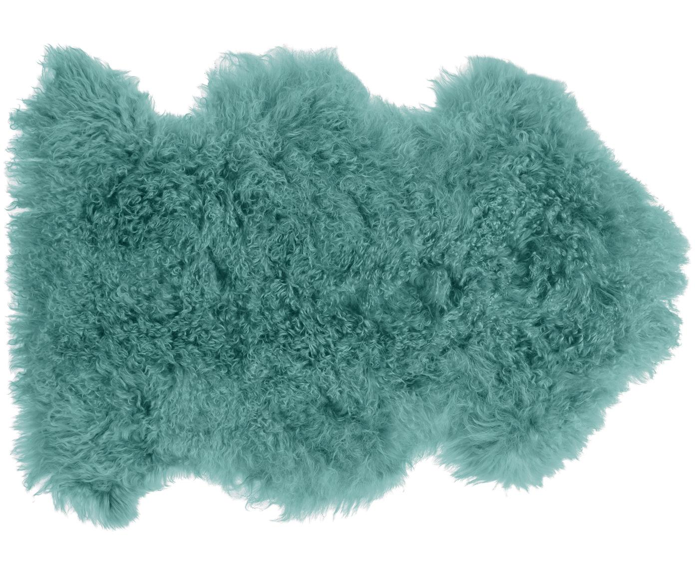 Langharige schapenvacht Ella, gekruld, Bovenzijde: Mongoolse schapenvacht, Onderzijde: leer, Donker turquoise, 50 x 80 cm