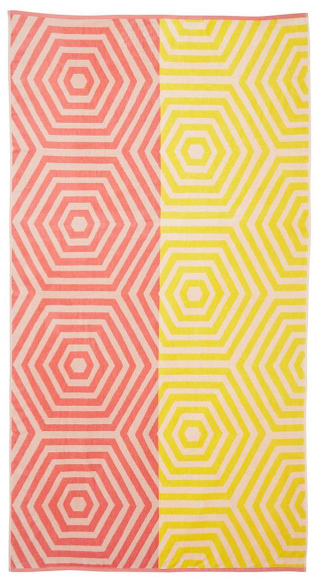 Strandtuch Cloudburst, Korallenrot, Gelb, 100 x 180 cm