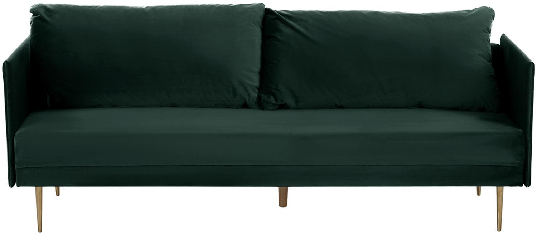 Sofa rozkładana z aksamitu Lauren (3-osobowa), Tapicerka: aksamit (poliester) 2800, Stelaż: drewno sosnowe, Nogi: metal lakierowany, Tapicerka: ciemnyzielony Nogi: odcienie złotego, błyszczący, S 206 x W 87 cm