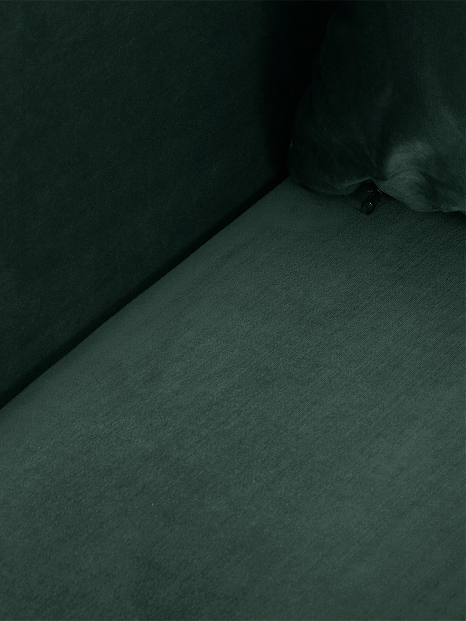 Divano letto 3 posti in velluto verde Lauren, Rivestimento: velluto (poliestere) 28.0, Struttura: legno di pino, Piedini: metallo verniciato, Velluto verde scuro, Larg. 206 x Alt. 87 cm