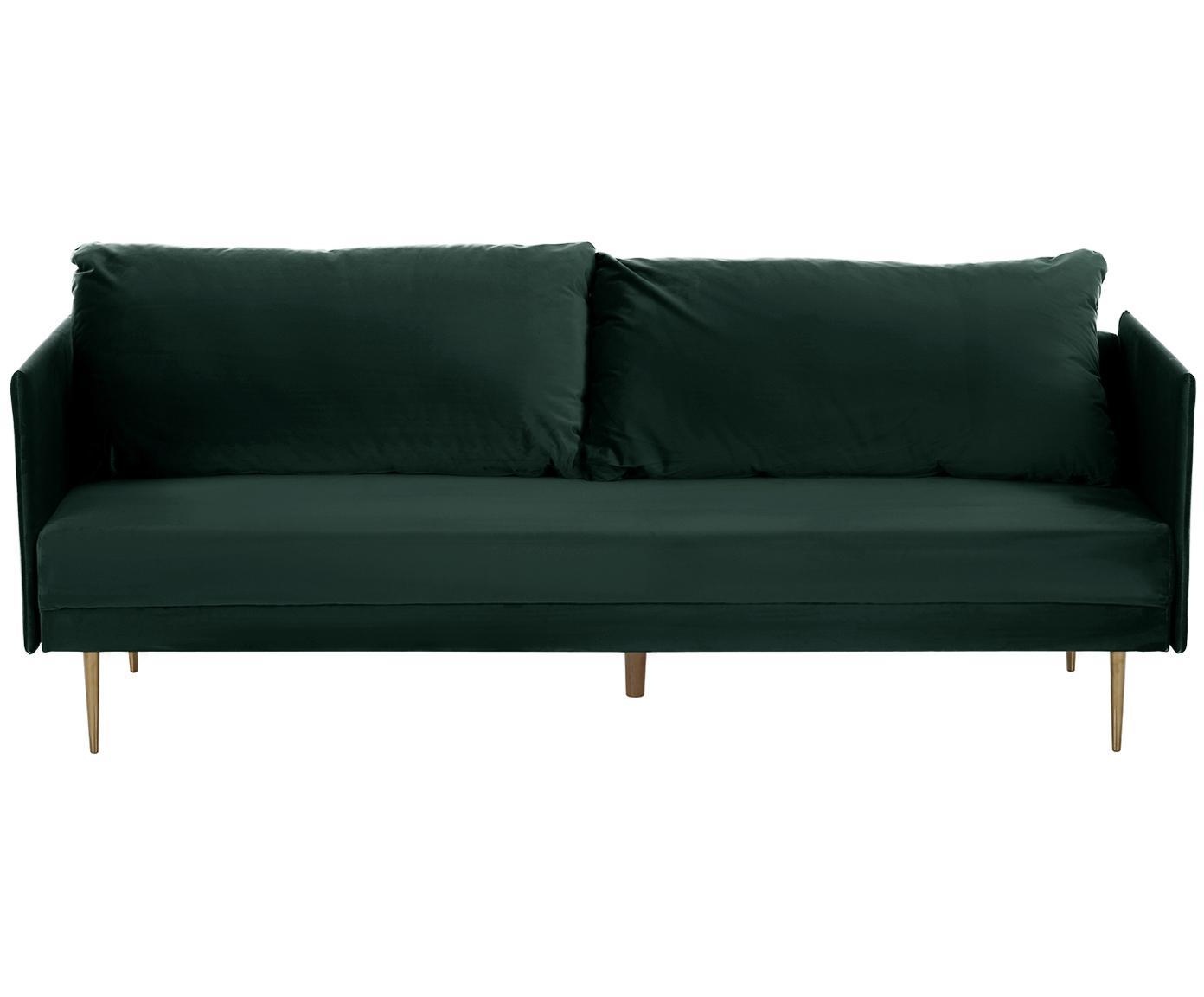 Samt-Schlafsofa Lauren, Bezug: Samt (Polyester) 28.000 S, Gestell: Kiefernholz, Füße: Metall, lackiert, Samt Dunkelgrün, 206 x 87 cm