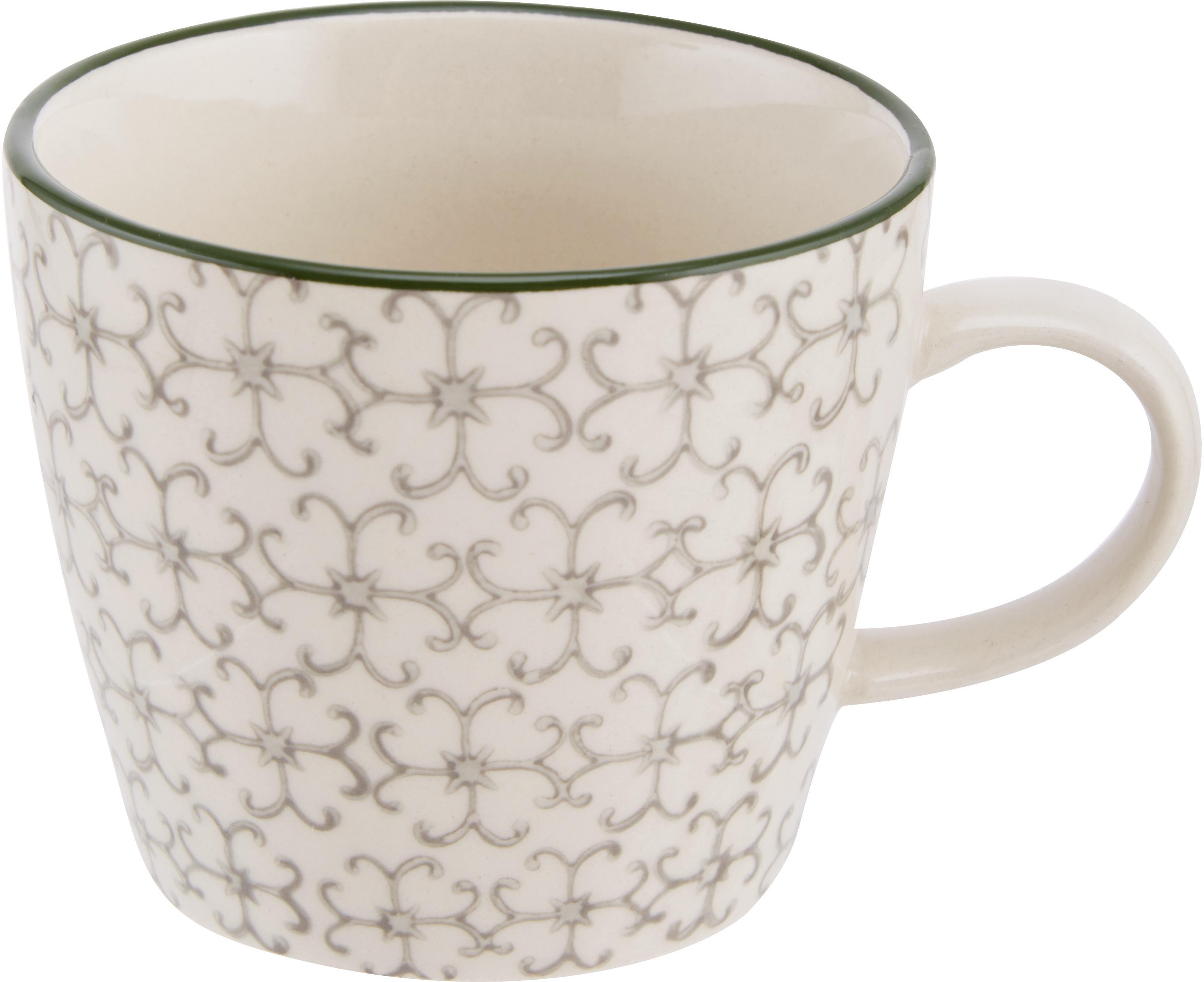 Tassen Karine mit kleinem Muster, 4er-Set, Steingut, Weiß, Grün, Rot, Grau, Ø 10 x H 8 cm