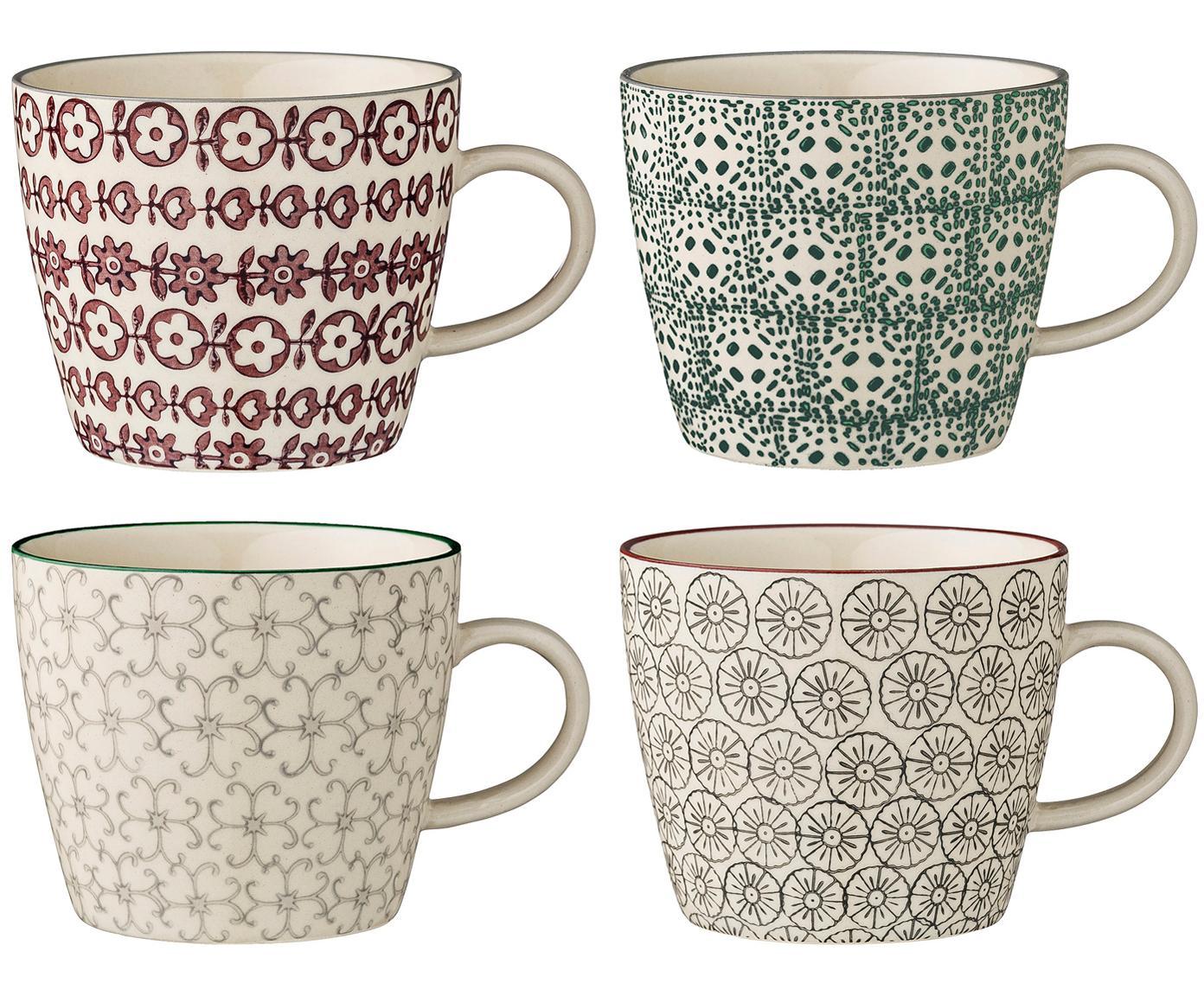 Set de tazas Karine, 4uds., Gres, Blanco, verde, rojo, gris, Ø 10 x Al 8 cm
