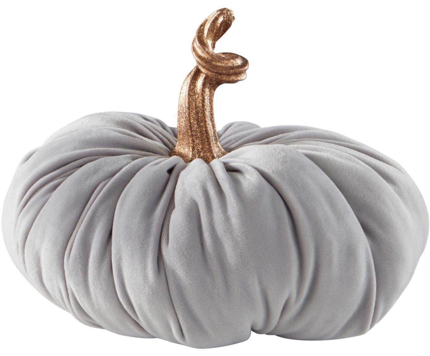 Zucca decorativa in velluto Pumpis, 15% poliresina, 35% acrilico, 25% poliestere, 25% riempimento con sabbia di quarzo, Grigio, Ø 22 x Alt. 21 cm