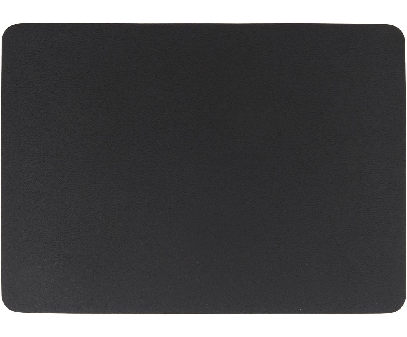 Manteles individuales de cuero sintético Pik, 2uds., Cuero sintético (PVC), Negro, An 33 x L 46 cm