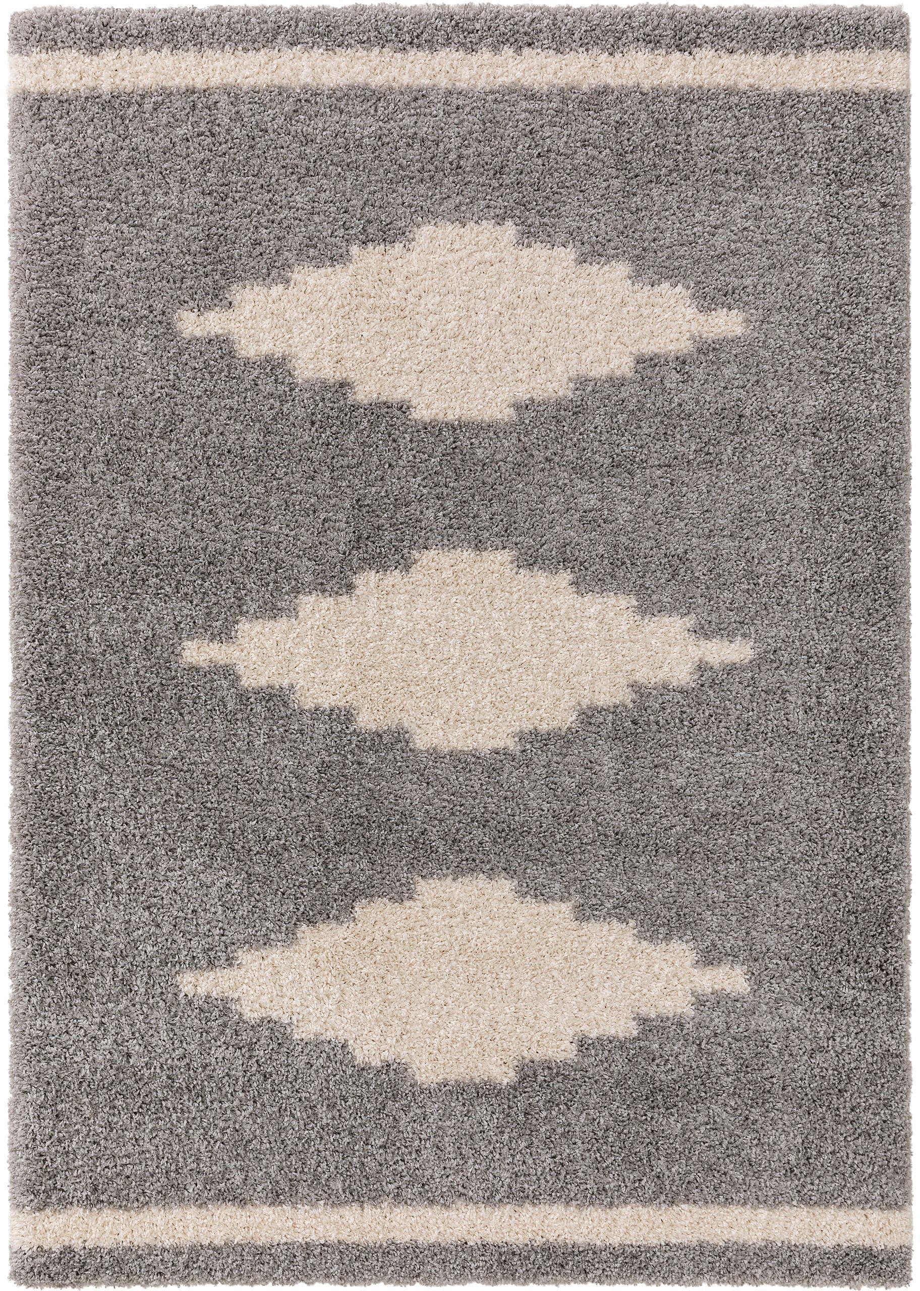 Hochflor-Teppich Selma mit grafischem Muster, 100% Polypropylen, Grau, Hellbeige, B 120 x L 170 cm (Größe S)
