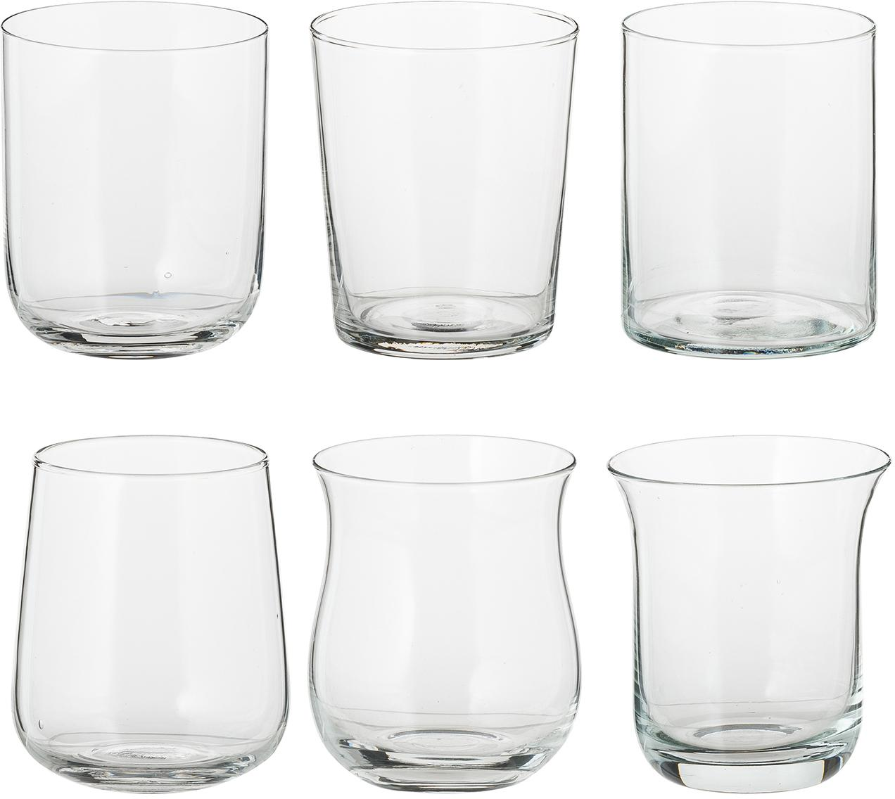 Mundgeblasene Wassergläser Desigual in unterschiedlichen Formen, 6er-Set, Glas, mundgeblasen, Transparent, Ø 8 x H 10 cm