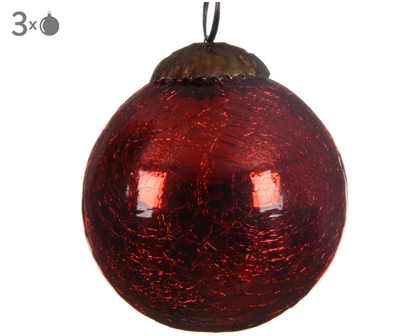 Weihnachtskugeln Craquele, 3 Stück, Glas, Rot, Ø 8 cm