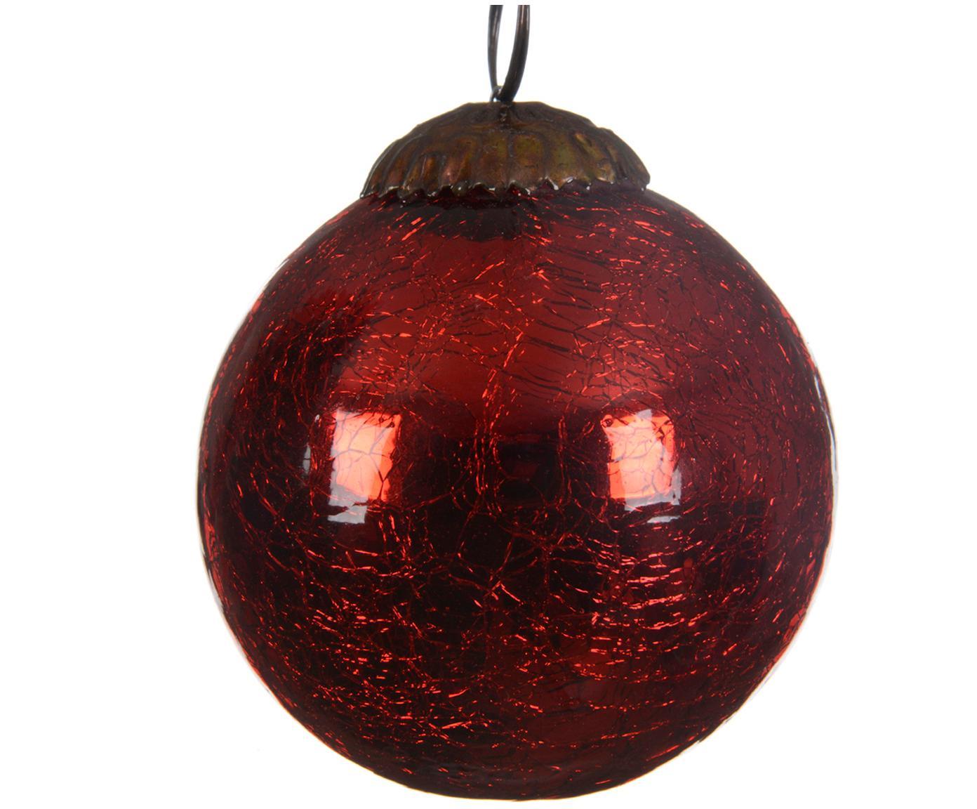 Kerstballen Craquele, 3 stuks, Glas, Rood, Ø 8 cm