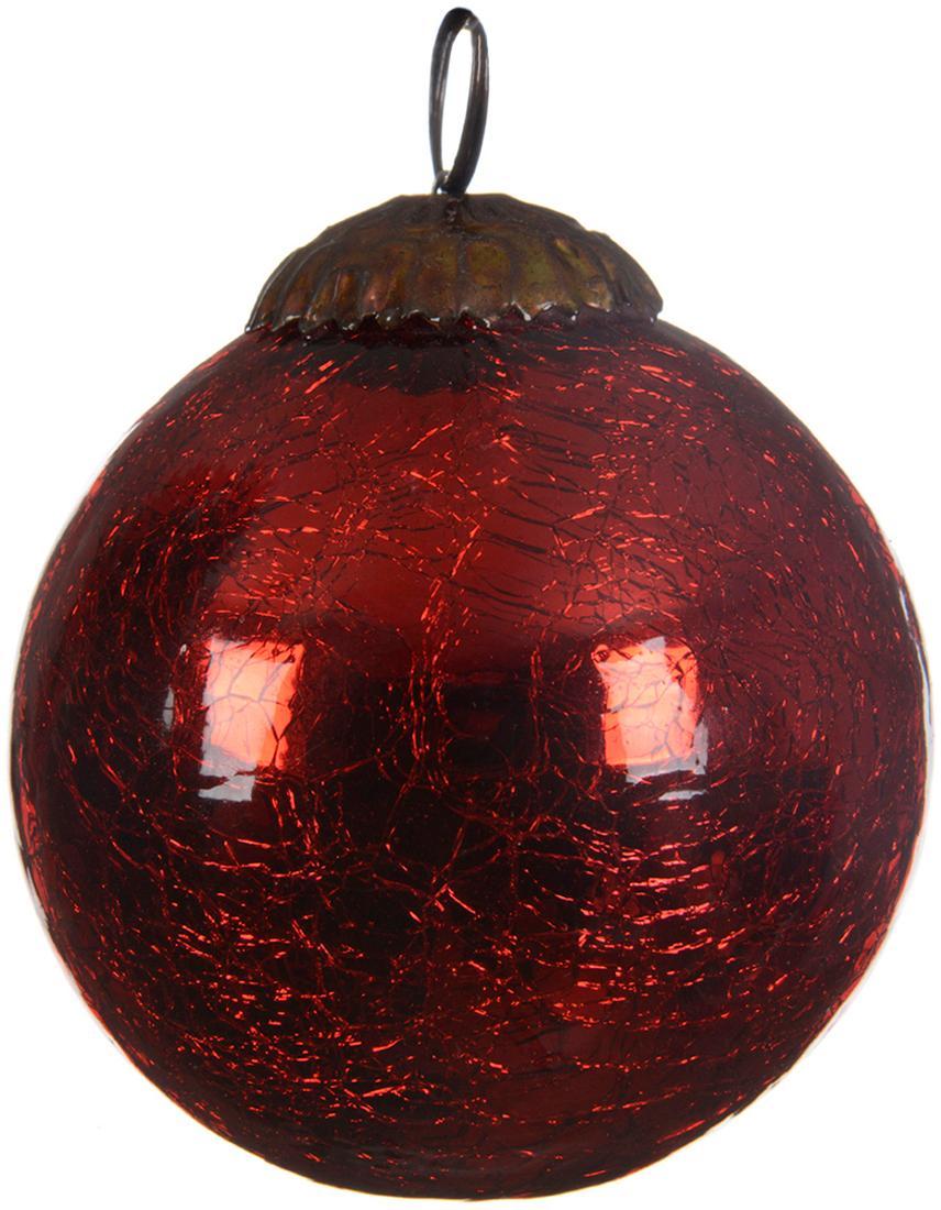 Bolas de Navidad Craquele, 3uds., Vidrio, Rojo, Ø 8 cm