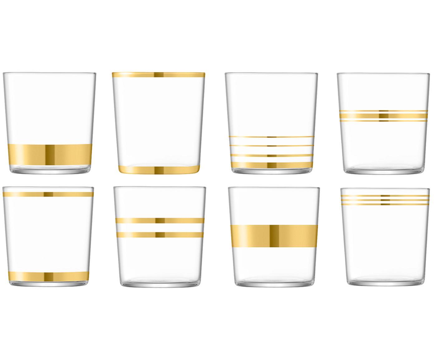 Waterglazenset Deco, 8-delig, Glas, Transparant, goudkleurig, Ø 8 x H 9 cm
