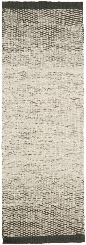 Alfombra artesanal de lana Lule, 70%lana, 30%algodón, Verde oscuro, beige, An 80 x L 250 cm
