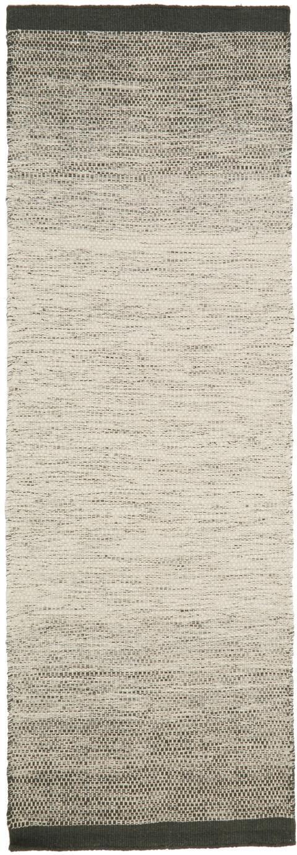 Handgewebter Wollläufer Lule mit Farbverlauf in Beige/Grün, 70% Wolle, 30% Baumwolle, Dunkelgrün, Beige, 80 x 250 cm
