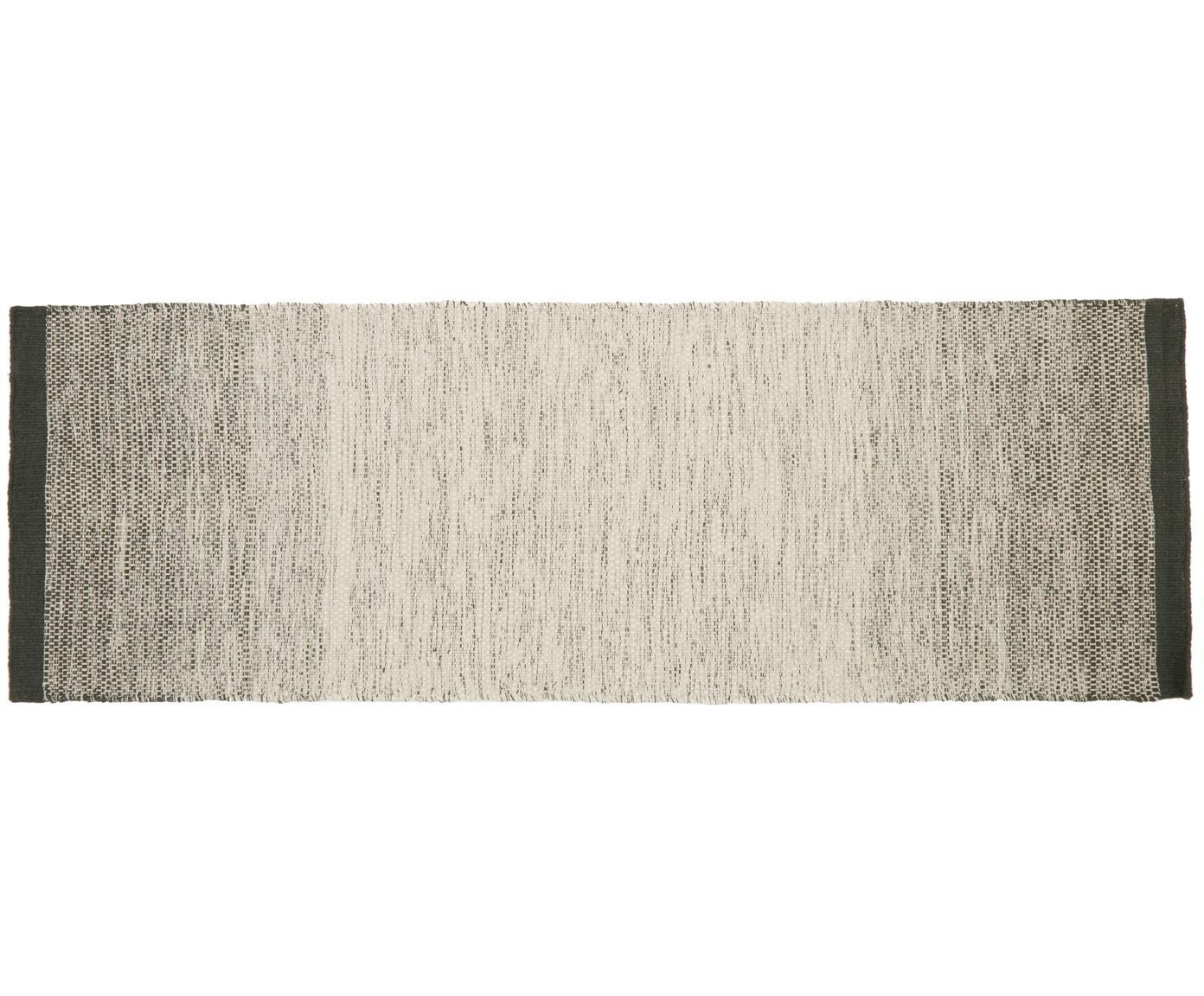 Handgeweven wollen loper Lule met kleurverloop in beige/groen, 70% wol, 30% katoen, Donkergroen, beige, 80 x 250 cm