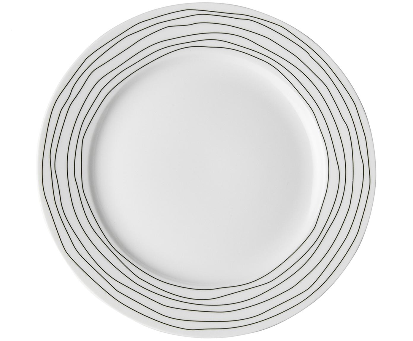 Frühstücksteller Eris Loft mit Liniendekor, 4 Stück, Porzellan, Weiß, Schwarz, Ø 21 x H 2 cm